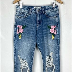 Zara Z1975 High Rise Destroyed Embroided Rose Jean